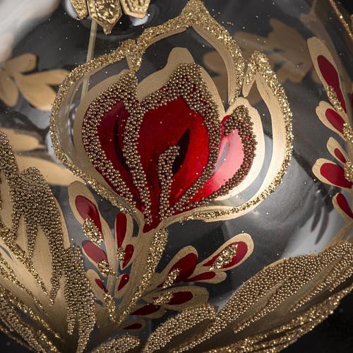 Boule de Noel verre soufflé fleur rouge or 8cm 3