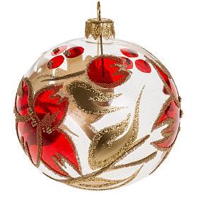 Palla Natale vetro trasparente fiore rosso dorato 8 cm s1