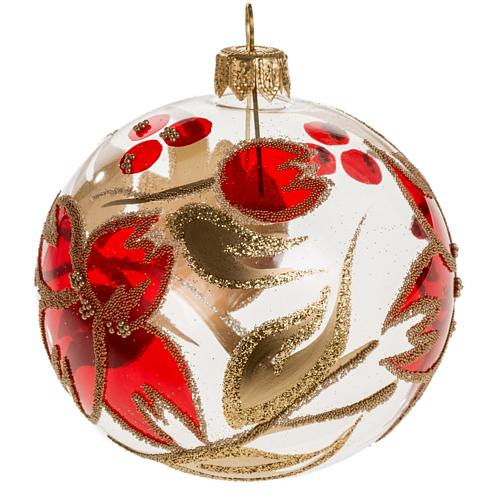 Palla Natale vetro trasparente fiore rosso dorato 8 cm 1