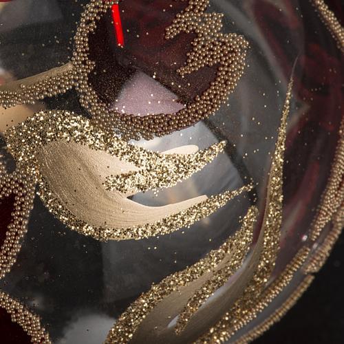 Palla Natale vetro trasparente fiore rosso dorato 8 cm 3
