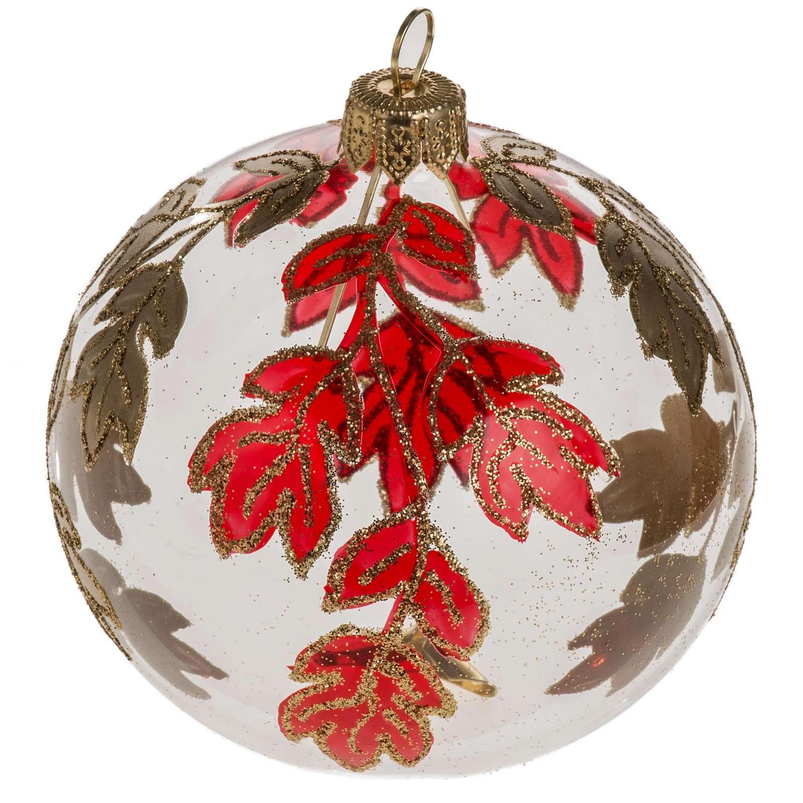 Boule de Noel transparente décorations rouges or 8 cm 4