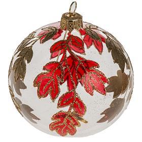 Boule de Noel transparente décorations rouges or 8 cm s1