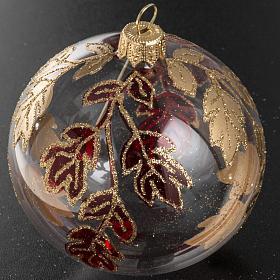 Boule de Noel transparente décorations rouges or 8 cm s2