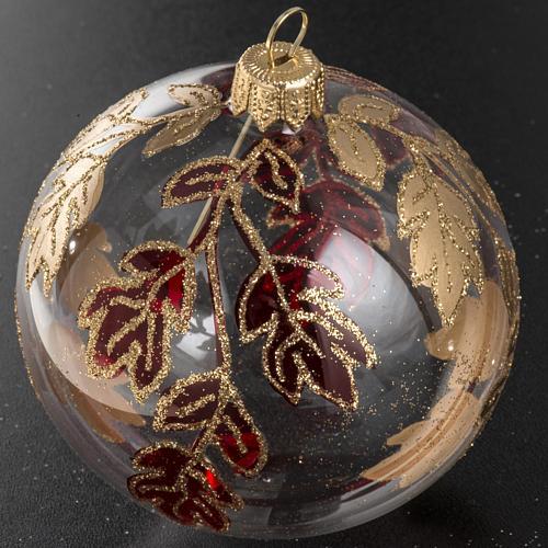 Boule de Noel transparente décorations rouges or 8 cm 2
