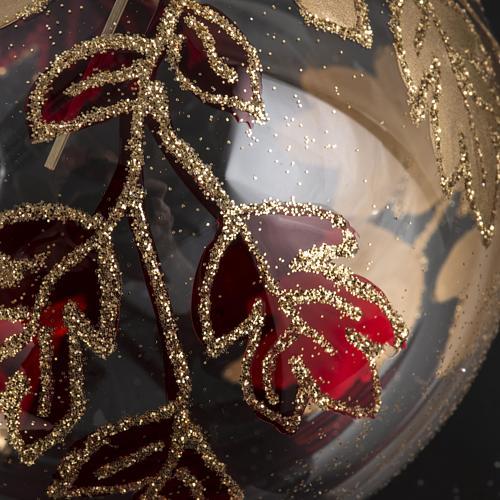 Boule de Noel transparente décorations rouges or 8 cm 3