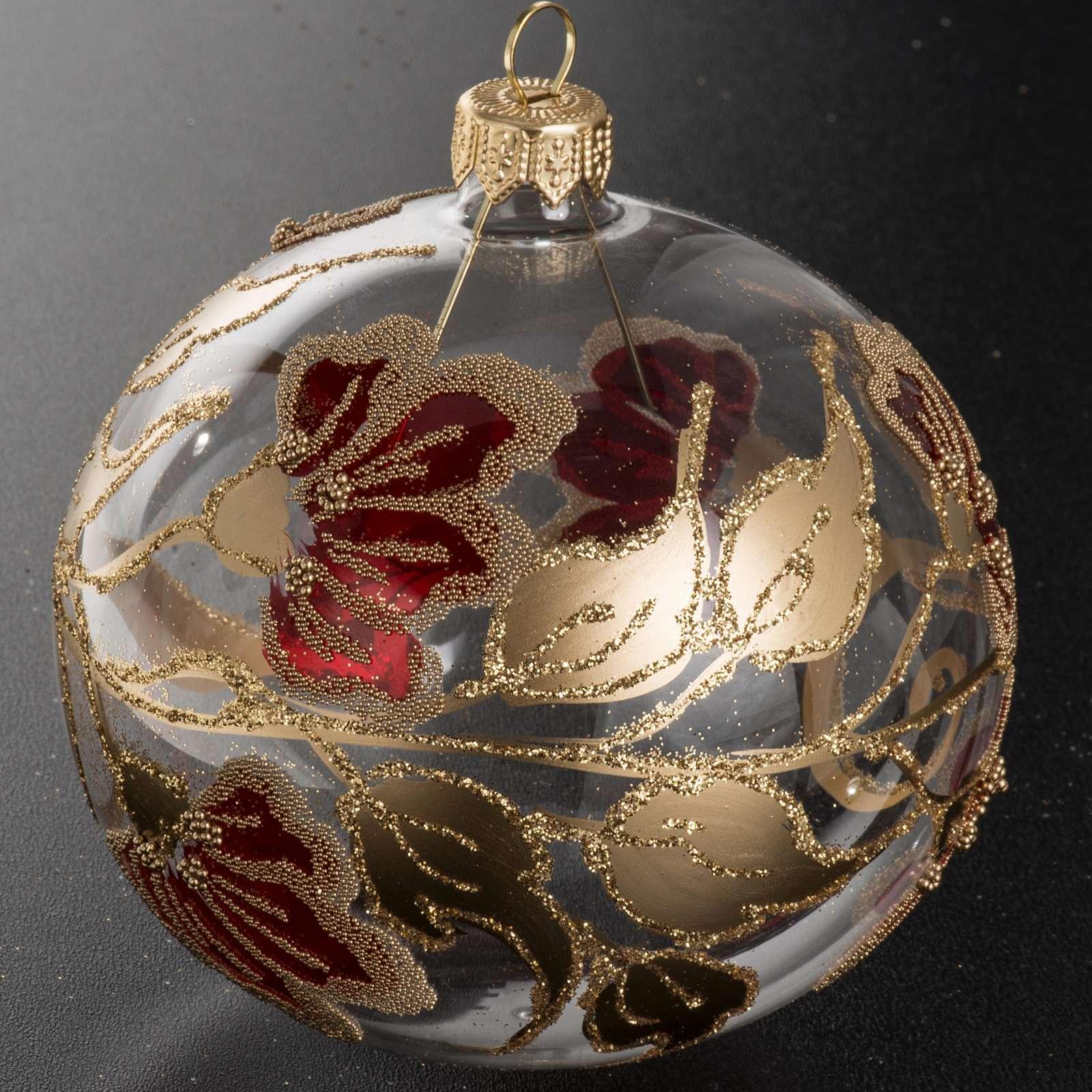 Palla Natale vetro trasparente decorazioni rosse 10 cm 4