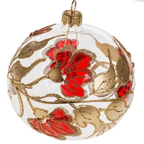 Palla Natale vetro trasparente decorazioni rosse 10 cm 1