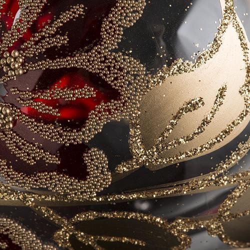 Palla Natale vetro trasparente decorazioni rosse 10 cm 3
