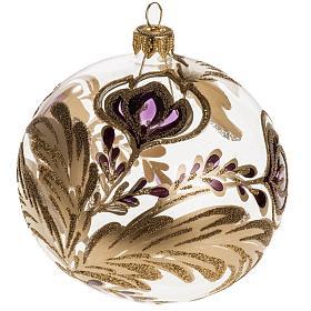 Palla Natale vetro trasparente decorazioni fucsia 10 cm s1