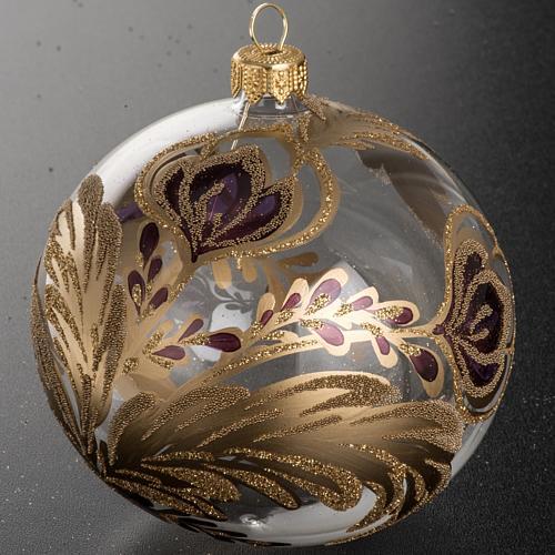 Palla Natale vetro trasparente decorazioni fucsia 10 cm 2