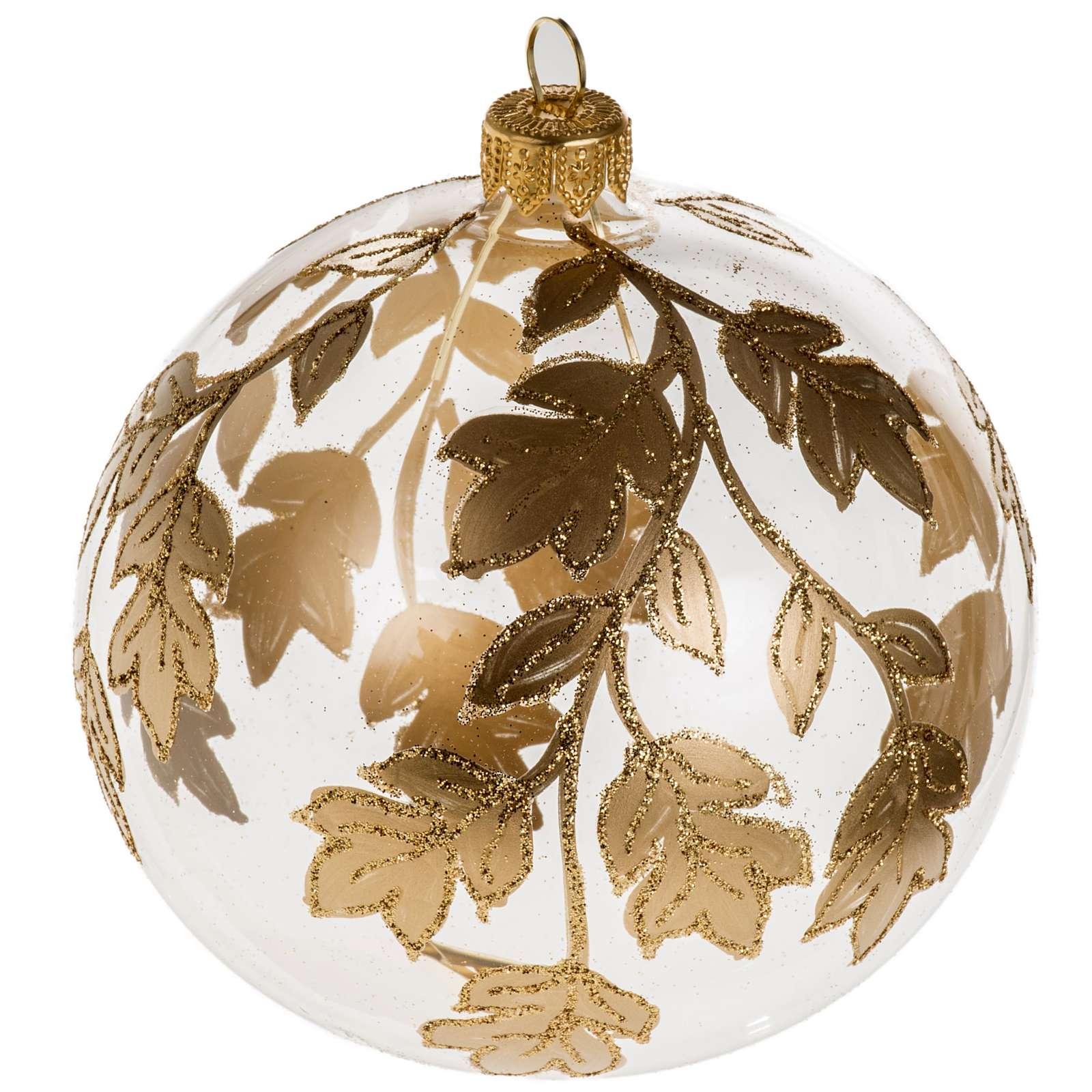 Boule de Noel transparente décorations dorées 10 c 4