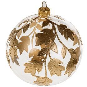 Palla Natale vetro trasparente decorazioni oro 10 cm s1