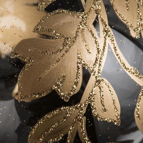 Palla Natale vetro trasparente decorazioni oro 10 cm 3