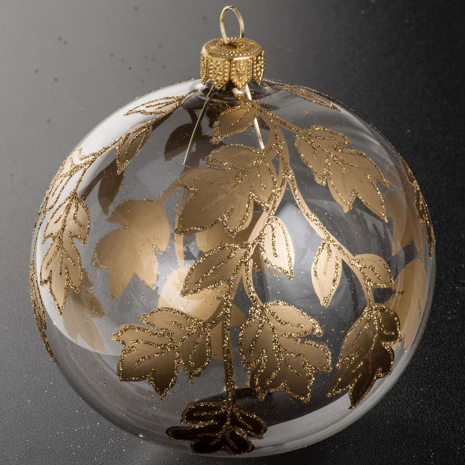 Christmas bauble, transparent glass with gold decorations 10cm 4