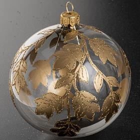 Christmas bauble, transparent glass with gold decorations 10cm s2