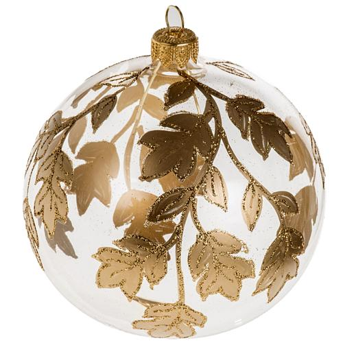 Christmas bauble, transparent glass with gold decorations 10cm 1