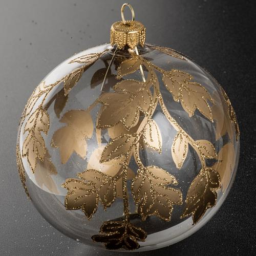 Christmas bauble, transparent glass with gold decorations 10cm 2