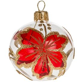 Boule de Noel verre transparente décor rouge 6 cm s1