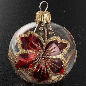Boule de Noel verre transparente décor rouge 6 cm s2