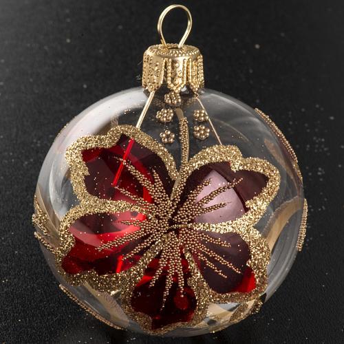 Boule de Noel verre transparente décor rouge 6 cm 2
