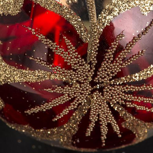 Boule de Noel verre transparente décor rouge 6 cm 3