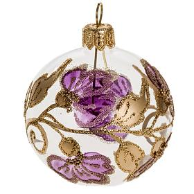Palla Natale vetro trasparente con fiore fucsia 6 cm s1