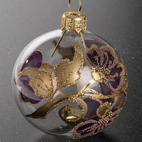 Palla Natale vetro trasparente con fiore fucsia 6 cm 2