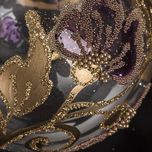 Palla Natale vetro trasparente con fiore fucsia 6 cm 3