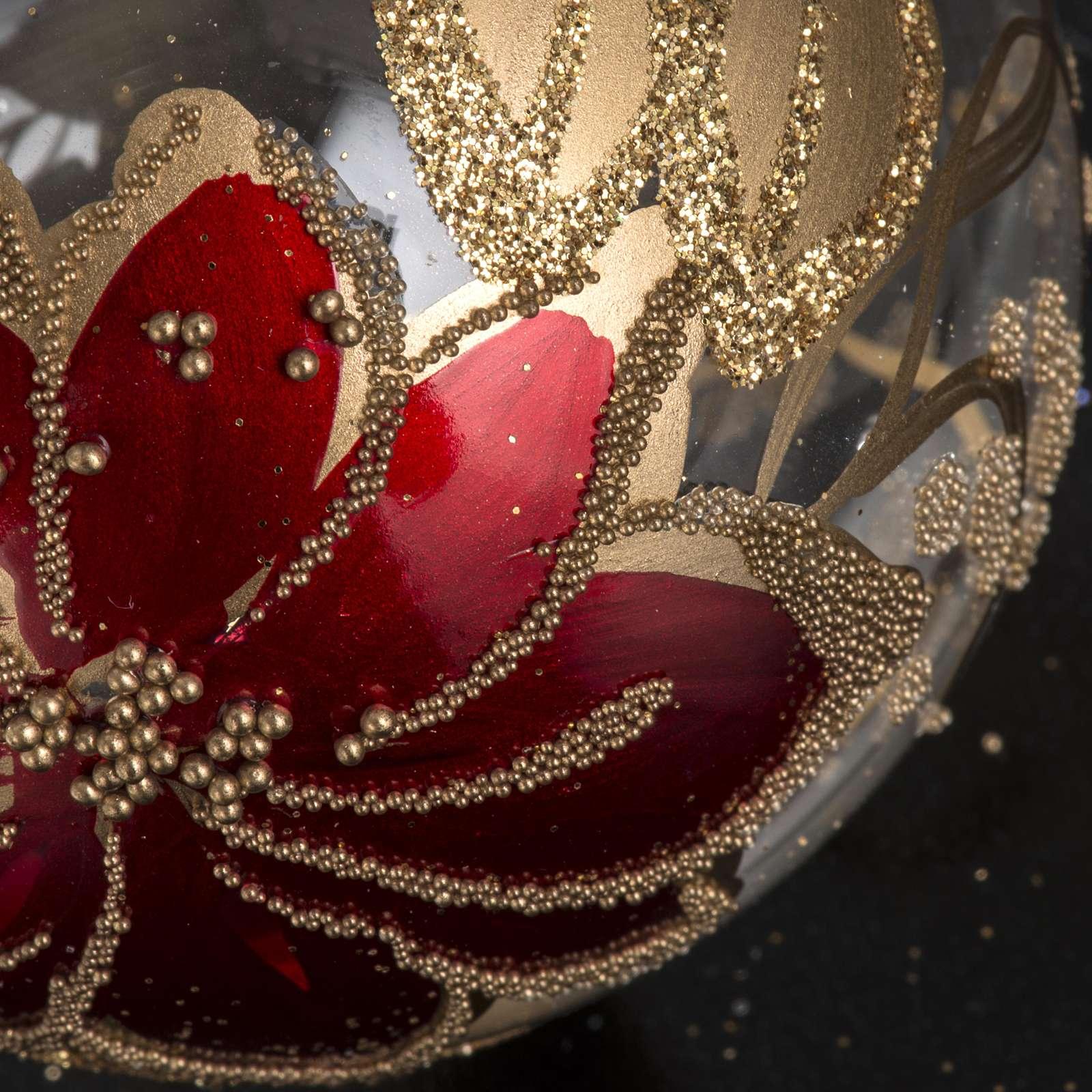 Palla Natale vetro trasparente dipinto a mano 6 cm 4