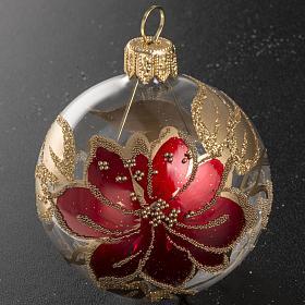 Palla Natale vetro trasparente dipinto a mano 6 cm s2