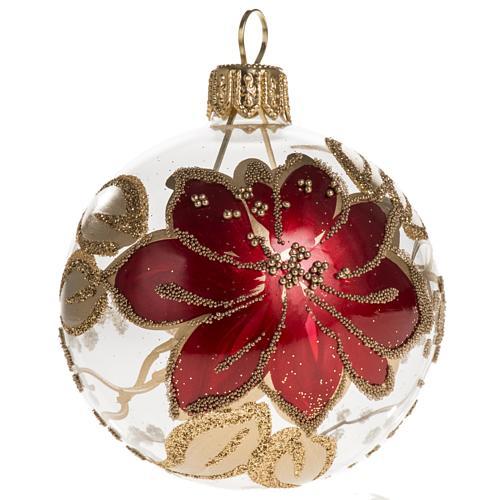 Palla Natale vetro trasparente dipinto a mano 6 cm 1
