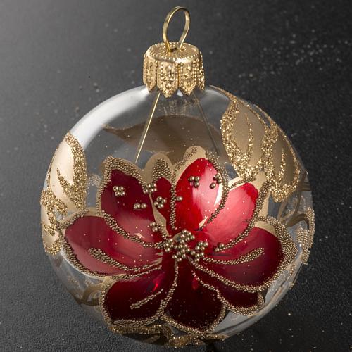 Palla Natale vetro trasparente dipinto a mano 6 cm 2