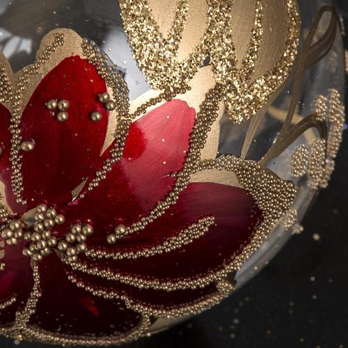 Palla Natale vetro trasparente dipinto a mano 6 cm 3