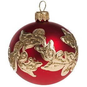 Christmas bauble, red glass with gold decorations 6cm s1