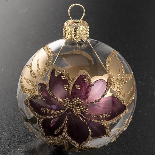 Boule de Noel peinte à la main fleur fuchsia or 6 cm | vente en