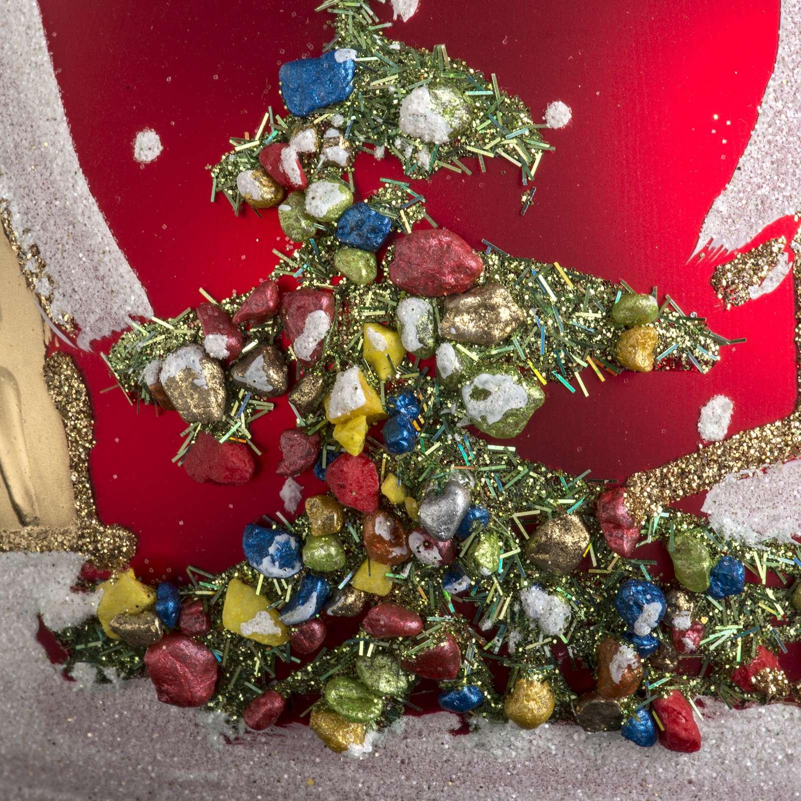 Addobbo albero Natale vetro rosso paese neve 12 cm 4
