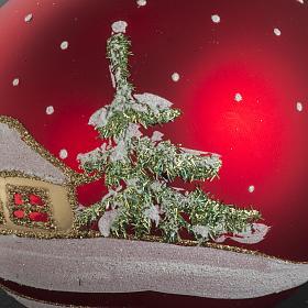 Addobbo albero Natale vetro rosso paese neve 12 cm s5