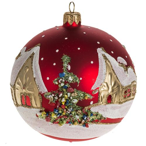Addobbo albero Natale vetro rosso paese neve 12 cm 1