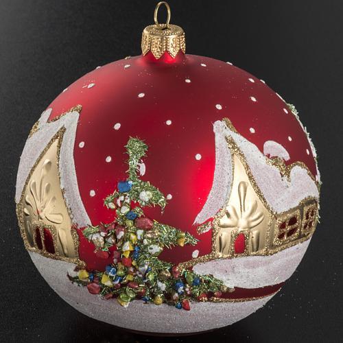 Addobbo albero Natale vetro rosso paese neve 12 cm 2