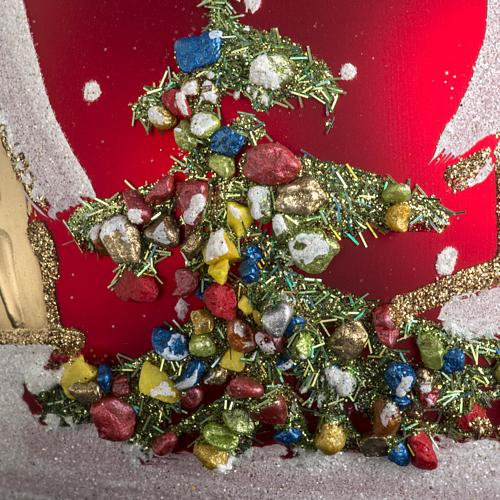 Addobbo albero Natale vetro rosso paese neve 12 cm 3