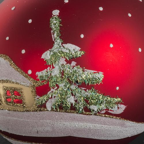 Addobbo albero Natale vetro rosso paese neve 12 cm 5