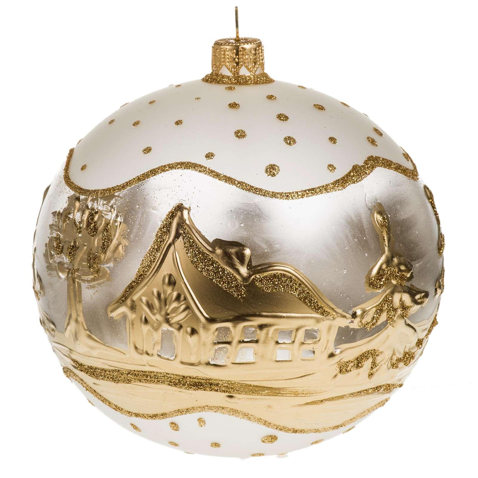 Adorno árbol de Navidad vidrio blanco dorado pueblo nieve 4