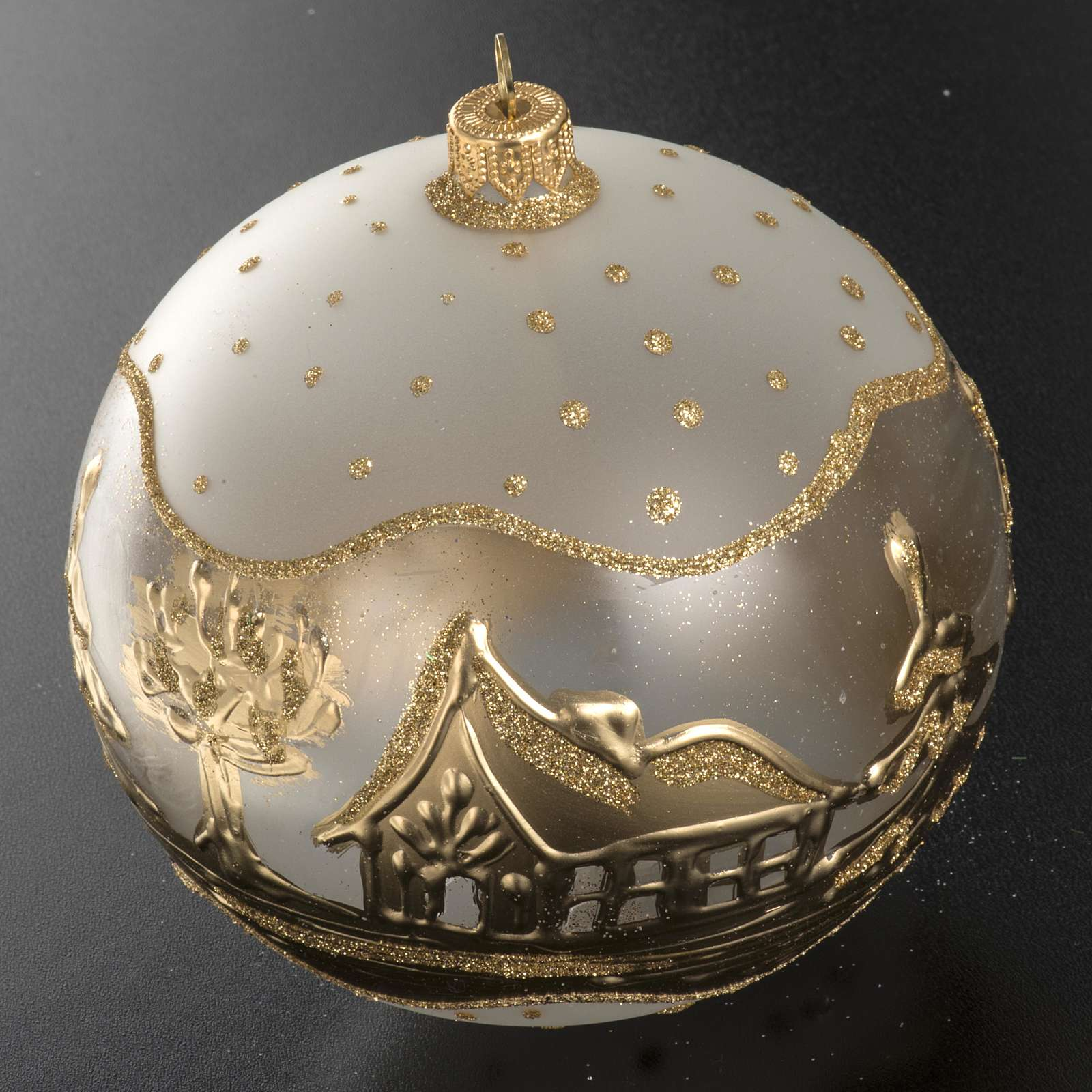 Addobbo albero Natale vetro bianco oro paese neve 12 cm 4