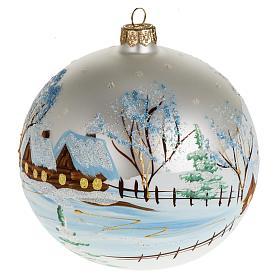 Addobbo albero Natale vetro bianco paese neve 12 cm s1