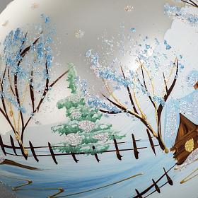 Addobbo albero Natale vetro bianco paese neve 12 cm s4