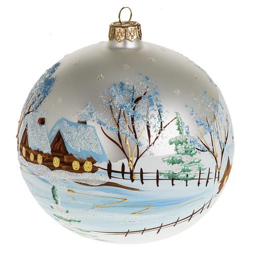 Addobbo albero Natale vetro bianco paese neve 12 cm 1