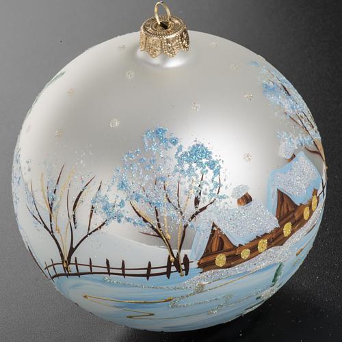 Addobbo albero Natale vetro bianco paese neve 12 cm 2