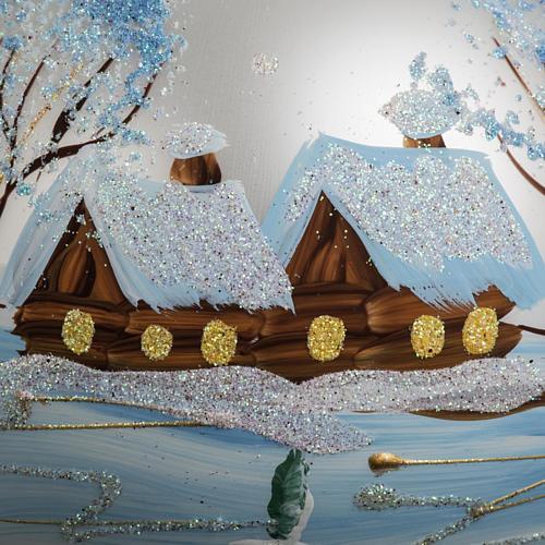 Addobbo albero Natale vetro bianco paese neve 12 cm 3