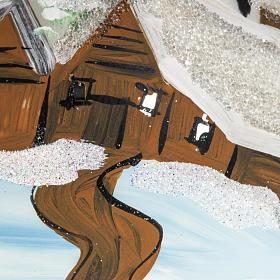 Boule de Noel verre blanc paysage 12 cm s2
