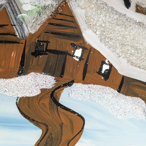 Boule de Noel verre blanc paysage 12 cm 2